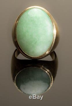 Vintage Green Jade Solitaire Mens Ring Set 14k Solid Yellow Gold Sz 10.5 Nores