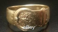 VINTAGE LADIES & MENS 9CT SOLID GOLD BUCKLE GENTS RING SIZE Q 4.6 Grams