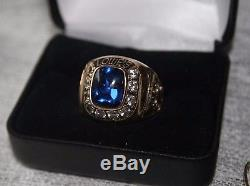 VINTAGE LOWES 10K GOLD RING 10 Diamonds Sapphire 1990 SALES AWARD MENS SIZE 12