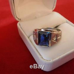 Vintage Mens 10k White Gold Sapphire & Diamond Ringsize 9out Of Estate