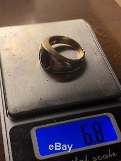 VINTAGE MENS 14K GOLD RING WITH RUBY 6.8g