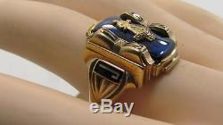 Vintage Mens 1956 Solid 10k Yellow Gold Blue Stone Class Ring 10 Not Scrap 11gr