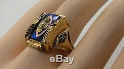 Vintage Mens 1967 Solid 10k Yellow Gold Blue Stone Class Ring Sz 10.5 Not Scrap