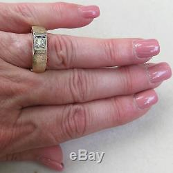 Vintage Mens. 40 Ct. Transitional Cut Diamond Solitaire 14k Yellow Gold Ring