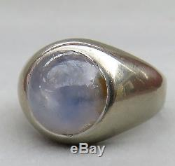Vintage Mens Natural 6 Ct. Lavender Blue Star Sapphire 14k White Gold Ring9.2 G