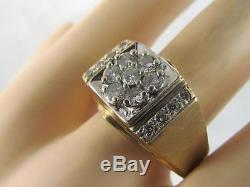 VINTAGE MENS SOLID 14K GOLD 1 CTW DIAMOND BAND RING SZ 12.5 NOT SCRAP 10.5GR