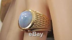 Vintage Mens Solid 14k Yellow Gold Moonstone Ring Sz 10 Not Scrap 12.4gr