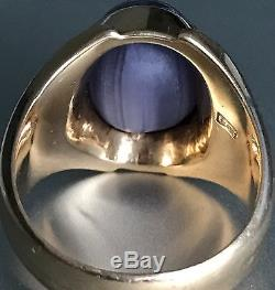 Vintage Mens Solid 18k Yellow Gold Natural Star Sapphire Ring Gia Certified