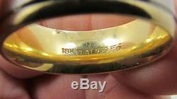 Vintage Mens Wide Solid 18k Yellow Gold 950 Platinum Band Ring Sz 10 Not Scrap