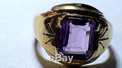 Vintage Men's Solid 10k Yellow Gold Amethyst Ring 5.70 Grams And Size 9.25