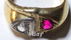 Vintage Men's Solid 10k Yellow Gold Ruby And Clear Stone Ring 7.00 Grams