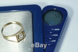VINTAGE Men's 14K Yellow Gold. 60ct Solitaire DIAMOND Ring Size 12.5 ESTATE