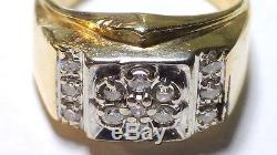 Vintage Solid 14k Yellow Gold Men's Ring With Diamond Size 9.25 No Resreve