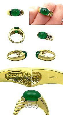 VINTAGE STULLER 4CT COLOMBIAN GREEN EMERALD 14K YELLOW GOLD STATEMENT MEN'S RING