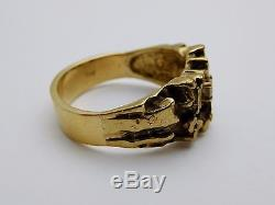 VINTAGE Solid 14k Yellow Gold / Diamonds Men's Nugget Ring Size 9.25
