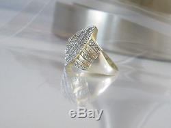 VNTG BIG Sterling Silver Gold 1.55tcw Natural Diamond Cluster Ring Size 10 Mens