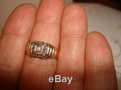 VTG EXQUISITE 14K YELLOW GOLD MENS DIAMOND SIGNET PINKY RING BLU CREST Size 10