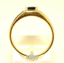 VTG MENS 14K YELLOW GOLD RECTANGULAR SAPPHIRE RING With DIAMOND ACCENTS SIZE 9.25