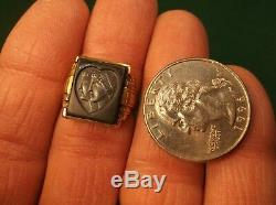 Very Rare Vtg Antique 10k Gold Art Deco Signet Ring, Man Lady Profiles In Heart