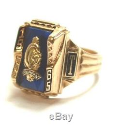 Vintage1965 Mens ClassBlue Sapphire Ring 10k Gold by Herff Jones 12.5 g, size 9.5