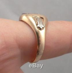 Vintage 10K Yellow GOLD MASONIC RING Lab Ruby Square & Compass Men's Size 10.75