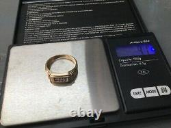 Vintage 10K solid gold men's ring with diamonds, size 10