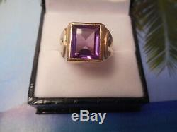 Vintage 10k Gold And 12x10mm Emerald Cut Purple Amethyst Men's Ring Size 8