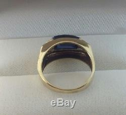 Vintage 10k Solid Gold Men's Sapphire Accents Diamonds Ring Size 10 w. 5.4 grams