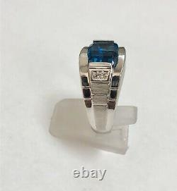 Vintage 10k White Gold Diamond And Blue Gemstone Watch Style Mens Ring Size10.25