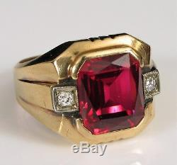 Vintage 10k Yellow Gold Mens Ring Large Square Red Ruby With Diamond Accents
