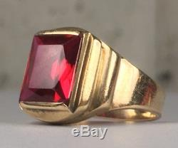 Vintage 10k Yellow Gold Mens Ruby Ring Size 9.75 8.13g