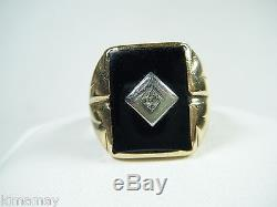 Vintage 10k Yellow Gold Onyx Diamond Mens Ring 1950's Size 9.5 Well Worn