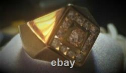 Vintage 12 Diamond Channel Set Men's Ring 14k Yellow Gold Clean With Appraisal