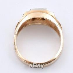 Vintage 14K Yellow And White Gold Men's Ring With 0.50 Ct Diamonds, Unisex, S10