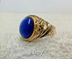 Vintage 14K Yellow Gold Men's Ring with Large Blue Star Sapphire Stone Size 10