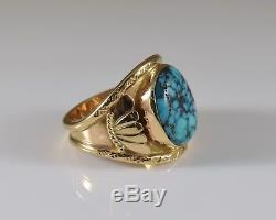 Vintage 14K Yellow Gold and Turquoise Men's Ring Size 10