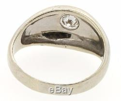 Vintage 14K white gold. 60CT SI2/F diamond solitaire dome men's ring size 10
