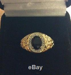 Vintage 14 K Yellow Gold Genuine Onyx And Diamonds Men's Ring Size 11 3.9 g