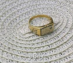Gold Solid 14k 585 Cartier Mens Yellowamp; White Ring Vintage m8OwnNv0