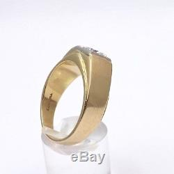 Vintage 14k Gold Mens. 87ct Round Solitaire Diamond Ring Appraisal Sz 10.5
