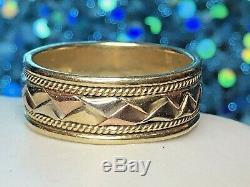 Vintage 14k Gold Wedding Band Men's Tricolor Rose Yellow White Gold Signed