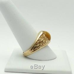 Vintage 14k Gold Yellow Tigers Eye Repoussé Leaves Mens Ring Sz 11