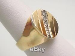 Vintage 14k Solid Yellow Gold Diamond Mens 13.9mm Wide Wedding Band Ring Sz 7.5