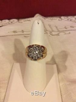 Vintage 14k. Solid Yellow gold Mens Gypsy Ring w. 1.40ct. Genuine Diamonds, sz. 8.5