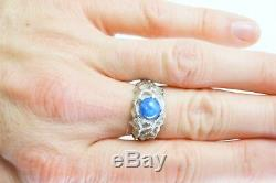 Vintage 14k White Gold Blue Star Sapphire Nugget Style Mens Ring Size 9.75