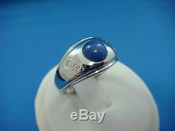 Vintage 14k White Gold Cabochon Star Sapphire And Small Diamonds Men's Ring