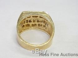 Vintage 14k Yellow Gold 3 Row Channel Set Genuine Diamond Mens Fashion Band Rin