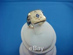 Vintage 14k Yellow Gold And Blue Enamel Men's Masonic Compass Ring, Size 9.75