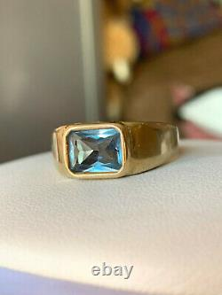 Vintage 14k Yellow Gold Blue Spinel Mens Womens Unisex Ring Gypsy Setting Heavy