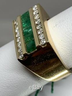 Vintage 14k Yellow Gold Emerald Diamond Mens Ring Band $3660 11 Grams Size 8
